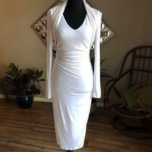 Venus White Long Sleeve Bodycon Dress XS